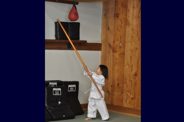 bo staff training for Kinder Karate student